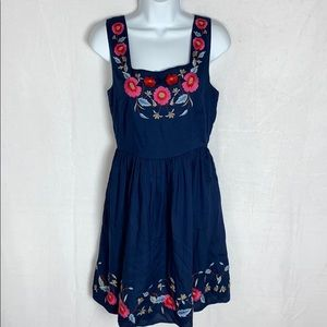 NWT ModCloth navy embroidered dress